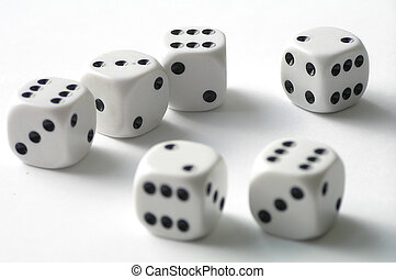 Dice on white table