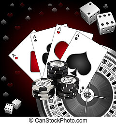 Dice playing cards and roulette on a dark background