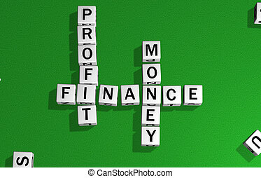 dice profit, finance and money - dice on a green carpet...