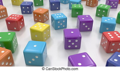 Dice random colors - 3d rendering of dice with random...