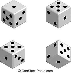 Dice set in isometric 3D