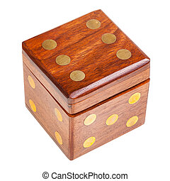 dice-shaped wooden box