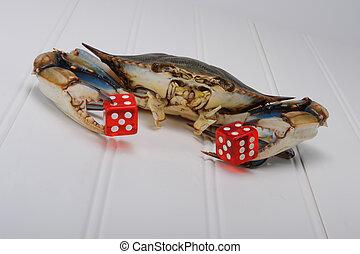 dice., spelend, krab