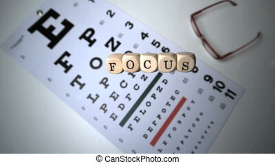 Dice spelling out focus falling onto eye test beside reading...