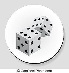 Dice sticker icon flat style. Vector illustration.