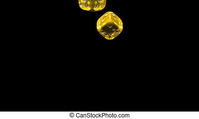 Dice - Yellow Dice On Black Background. 3D render Animation....