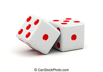 Dice - Two dice over white background
