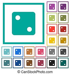 Dice two flat color icons with quadrant frames on white...