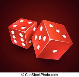 Dice vector design. Two dice casino gambling template concept.