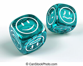 Dice with different emotions on faces on white isolated...