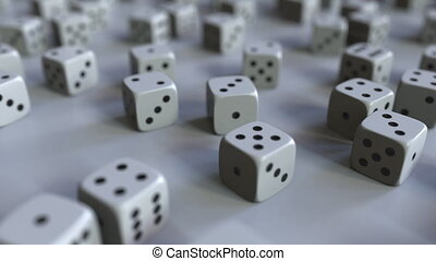 Dice with Dollar sign among scattered gambling dices. Forex...