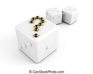 dice with gold question-mark