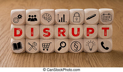 Dice with icons and the word Disrupt