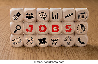 Dice with icons and the word Jobs