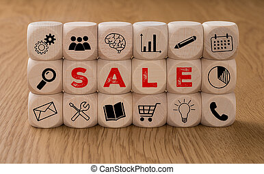 Dice with icons and the word Sale