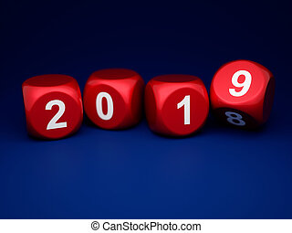 Dice with new year 2019 on blue background
