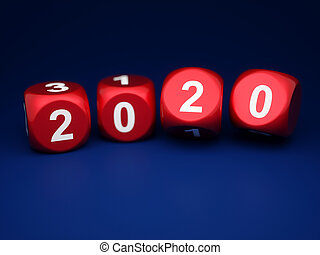 Dice with new year 2020 on blue background