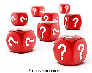 Dice with question mark symbol