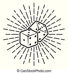 Dice with rays vector monochrome illustration