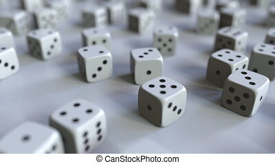 Dice with Russian ruble sign among scattered gambling dices....