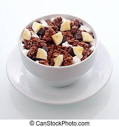 diced, czekolada, zboże, świeży, śniadanie, banan