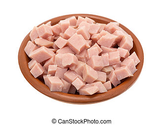 Diced ham in a small bowl
