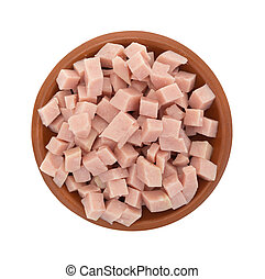 Diced ham in a small bowl top view