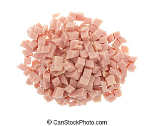 Diced ham on a white background