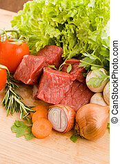 Diced meat with vegetables