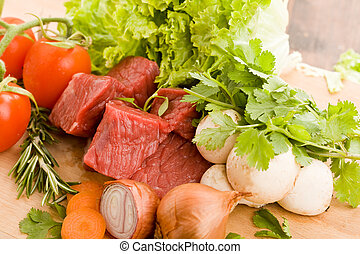 Diced meat with vegetables - photo of diced raw meat with ...