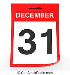dicembre, calendario, bianco, 31., fondo.