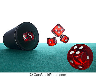 Dices and shaker - Five red dices after being thrown from ...