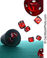Dices and shaker - Many red dices are thrown from the shaker...