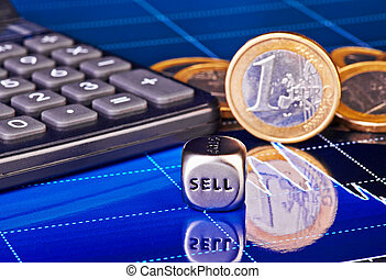 Dices cube with the word SELL, euro coins, calculator and downtrend financial chart as background. Selective focus