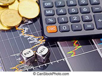 Dices cubes with the words SELL BUY, calculator and golden coins. Financial chart as background. Selective focus