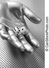 Dices gambling hand futuristic metaphor - Dices gambling...
