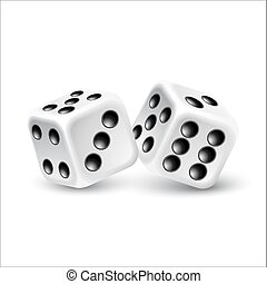 Dices on a white background. Vector illustration.