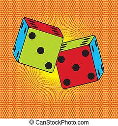 dices pop art - colorful dices over orange background,pop...