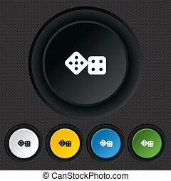 Dices sign icon. Casino game symbol. Round colourful buttons...