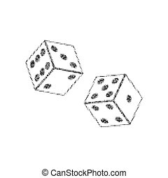 Dices sign. Vector. Black icon from many ovelapping circles with random opacity on white background. Noisy. Isolated.