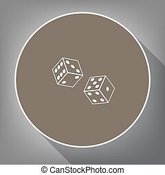 Dices sign. Vector. White icon on brown circle with white contour and long shadow at gray background. Like top view on postament.