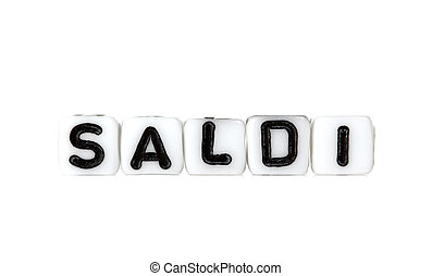 Dices with letters forming word: saldi.