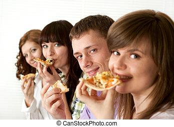 dicha, divertido, caucásico, campaña, de, cuatro personas, comer pizza