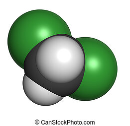 Dichloromethane (CH2Cl2, methylene chloride) molecule, chemical structure. CH2Cl2 is a common chemical solvent.