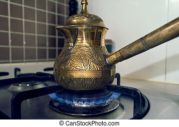 dichtbegroeid boven, aanzicht, van, brons, antieke , koffiekan