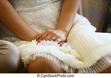 dichtbegroeid boven, bruid, hand, met, ring