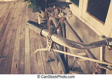 dichtbegroeid boven, fiets hengsel, ouderwetse