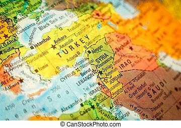 dichtbegroeid boven, kaart, syrië, jordanië, en, turkije