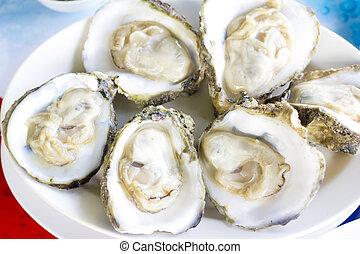 dichtbegroeid boven, oesters, geopend