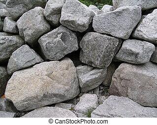 dichtbegroeid boven, rotsen